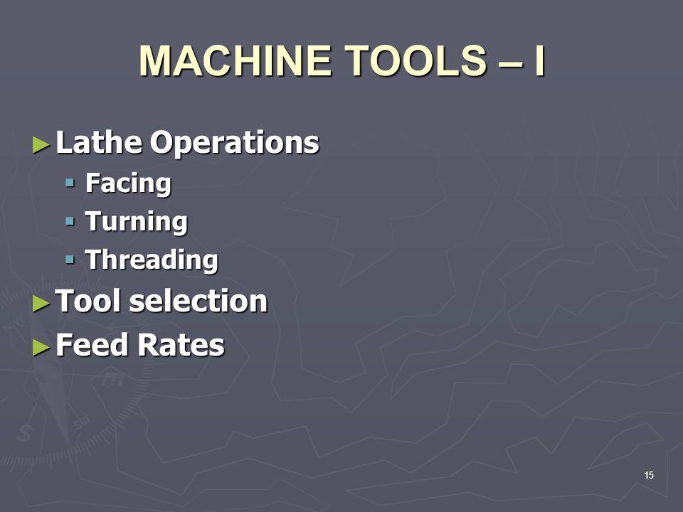 MACHINE TOOLS – I Lathe Operations Lathe Operations Facing Facing Turning Turning Threading Threading Tool selection Tool selection Feed Rates Feed Ra