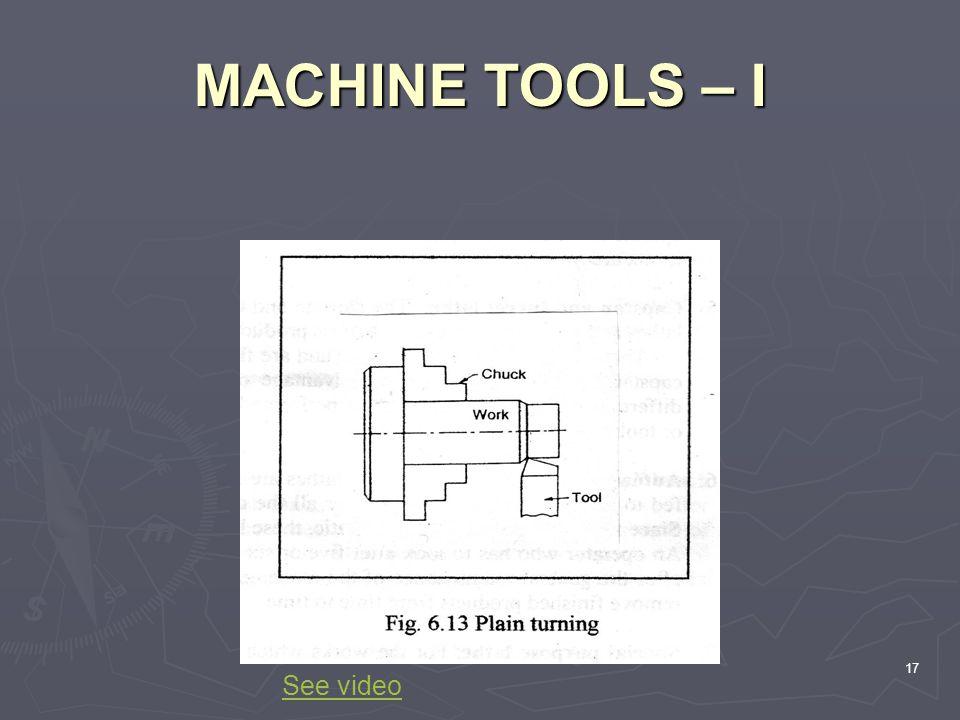 MACHINE TOOLS – I 17 See video
