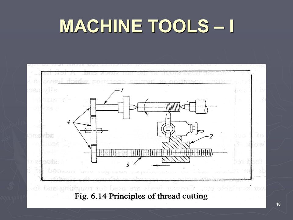 MACHINE TOOLS – I 18