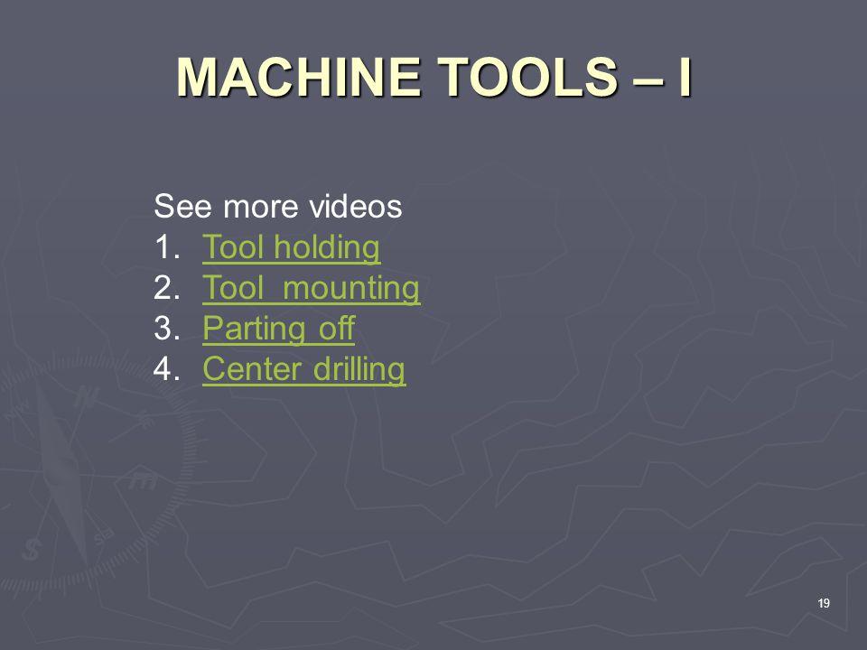 MACHINE TOOLS – I 19 See more videos 1.Tool holdingTool holding 2.Tool mountingTool mounting 3.Parting offParting off 4.Center drillingCenter drilling