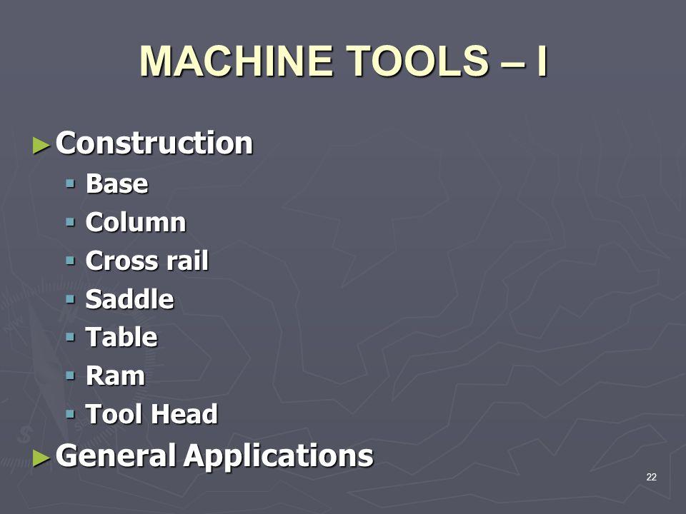 MACHINE TOOLS – I Construction Construction Base Base Column Column Cross rail Cross rail Saddle Saddle Table Table Ram Ram Tool Head Tool Head Genera