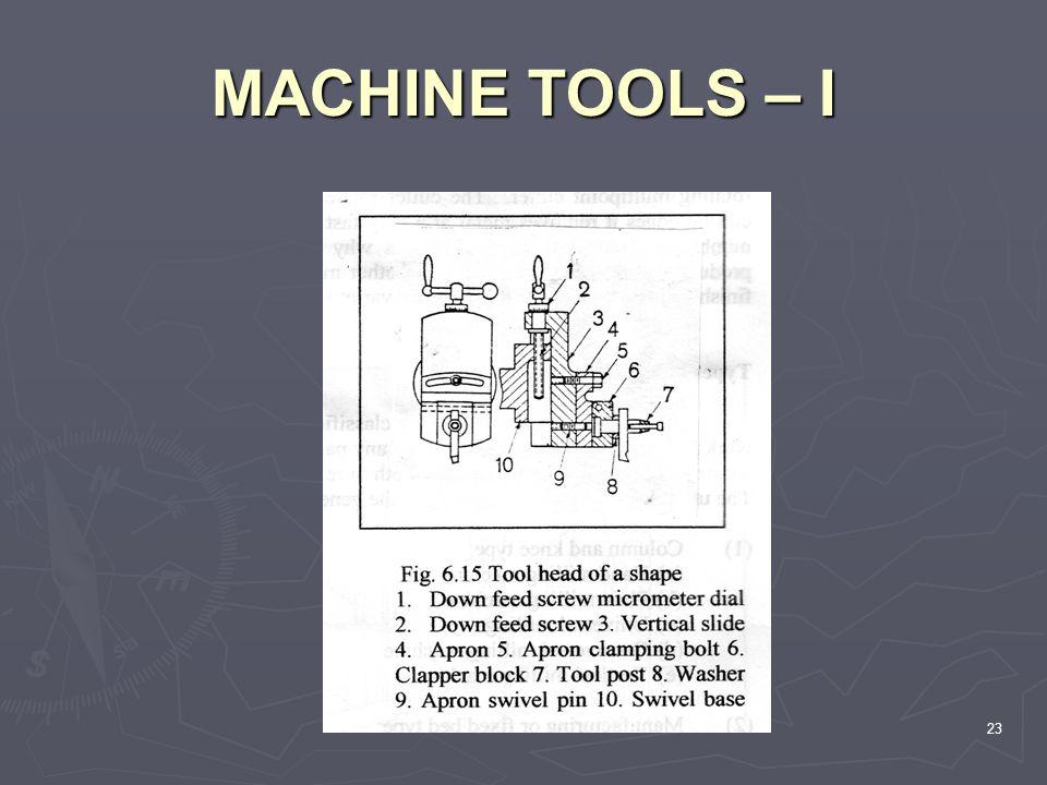 MACHINE TOOLS – I 23