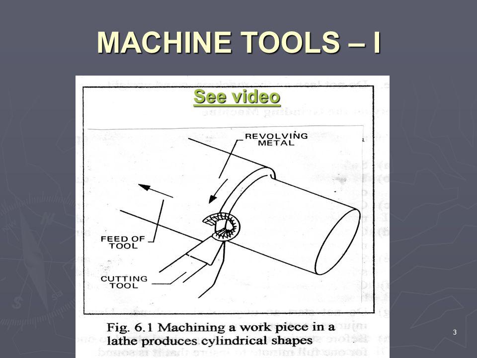 MACHINE TOOLS – I 3 See video See video
