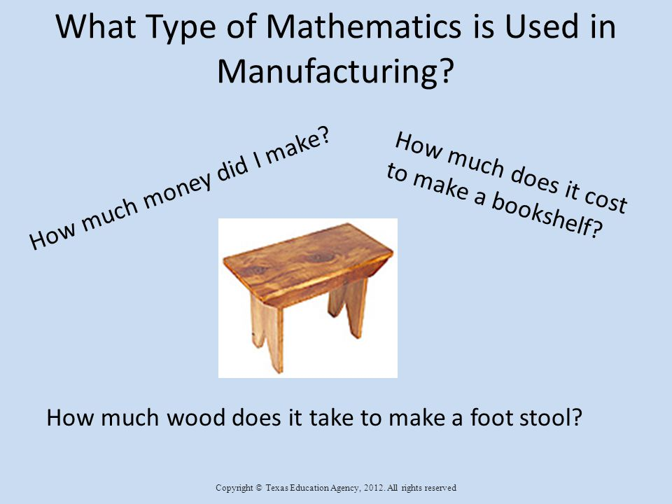 Mathematics in Manufacturing Labor Costs Material Costs Machine Cost Product Costs Profit Copyright © Texas Education Agency, 2012.