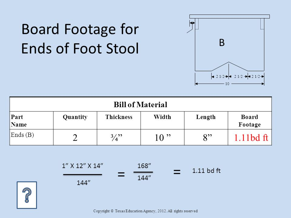Bill of Material Part Name QuantityThicknessWidthLengthBoard Footage Ends (B) 2¾ 10 8 1.11bd ft Board Footage for Ends of Foot Stool 1 X 12 X 14 144 1.11 bd ft = = 168 10 2 1/2 B Copyright © Texas Education Agency, 2012.