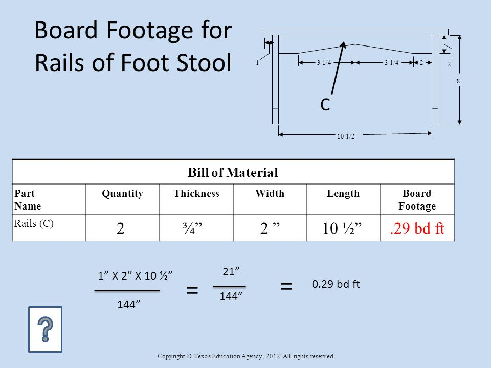 Board Footage for Rails of Foot Stool Bill of Material Part Name QuantityThicknessWidthLengthBoard Footage Rails (C) 2 ¾ 2 10 ½.29 bd ft 1 X 2 X 10 ½ 144 0.29 bd ft = = 21 2 10 1/2 1 8 3 1/4 2 C Copyright © Texas Education Agency, 2012.