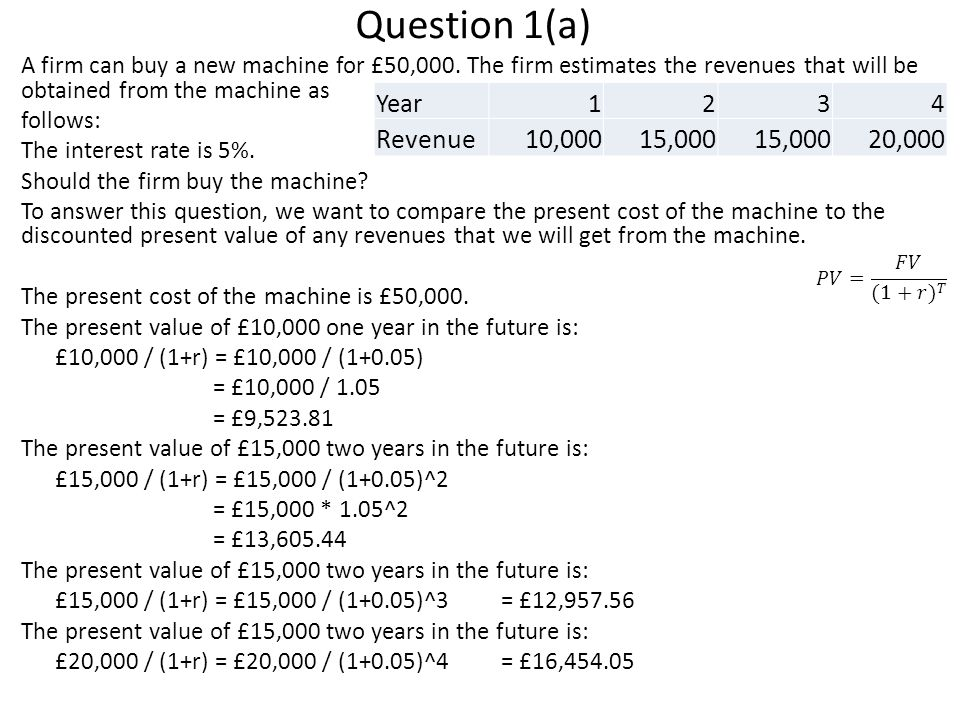 Question 1(a) A firm can buy a new machine for £50,000.