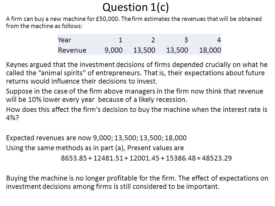 Year1234 Revenue10,00015,000 20,000 Question 1(c) A firm can buy a new machine for £50,000.