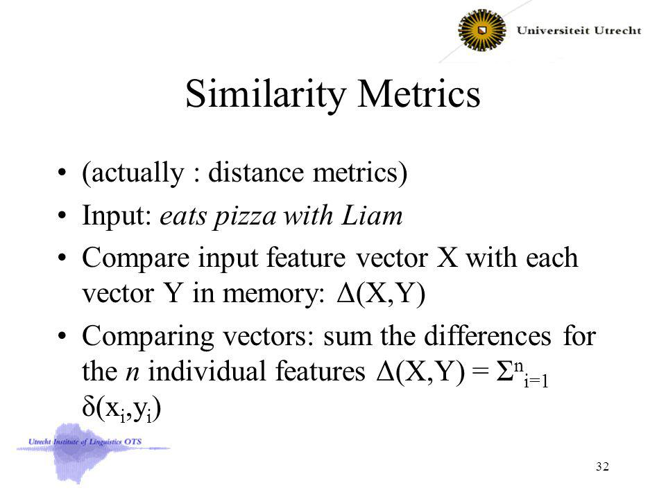 Similarity Metrics (actually : distance metrics) Input: eats pizza with Liam Compare input feature vector X with each vector Y in memory: Δ(X,Y) Comparing vectors: sum the differences for the n individual features Δ(X,Y) = Σ n i=1 δ(x i,y i ) 32