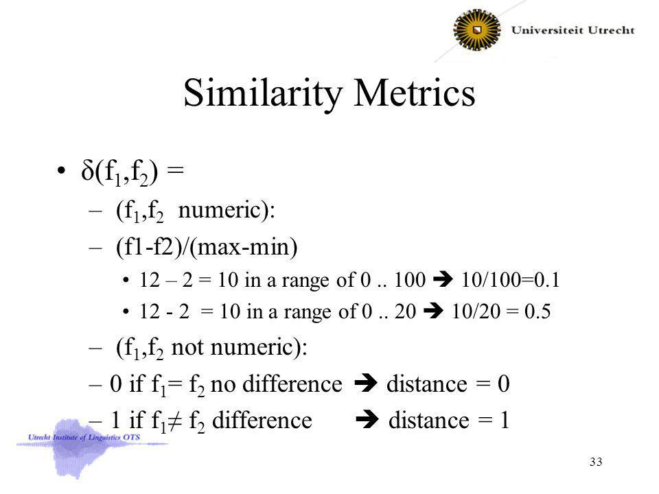 Similarity Metrics δ(f 1,f 2 ) = – (f 1,f 2 numeric): – (f1-f2)/(max-min) 12 – 2 = 10 in a range of 0..