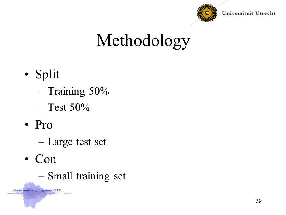 Methodology Split –Training 50% –Test 50% Pro –Large test set Con –Small training set 39