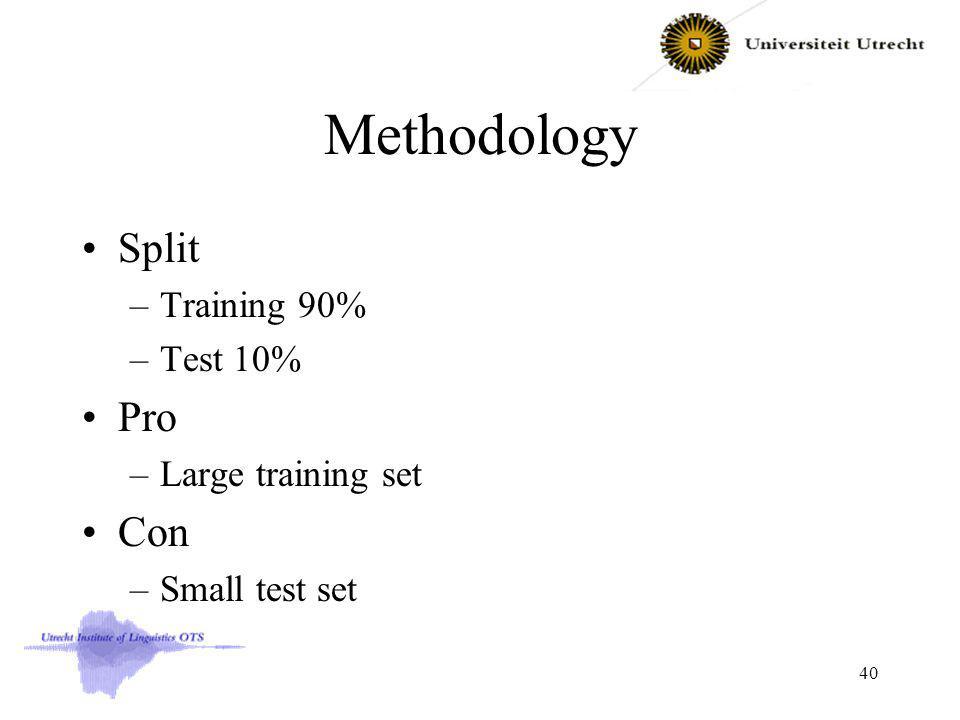 Methodology Split –Training 90% –Test 10% Pro –Large training set Con –Small test set 40