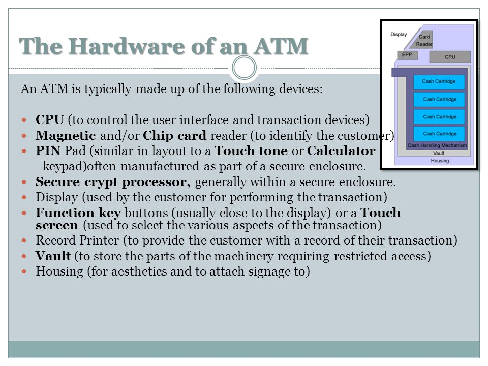 The Hardware of an ATM An ATM is typically made up of the following devices: CPU (to control the user interface and transaction devices) Magnetic and/or Chip card reader (to identify the customer) PIN Pad (similar in layout to a Touch tone or Calculator keypad)often manufactured as part of a secure enclosure.