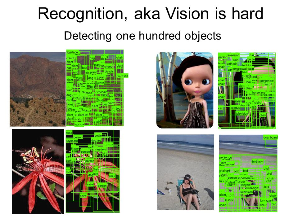 Recognition, aka Vision is hard Detecting one hundred objects