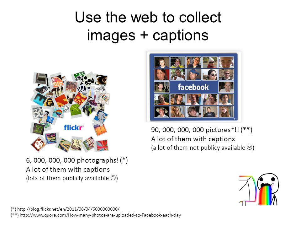 Use the web to collect images + captions 6, 000, 000, 000 photographs.