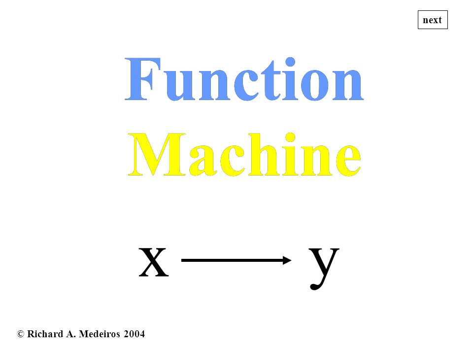 © Richard A. Medeiros 2004 x y Function Machine Function Machine next