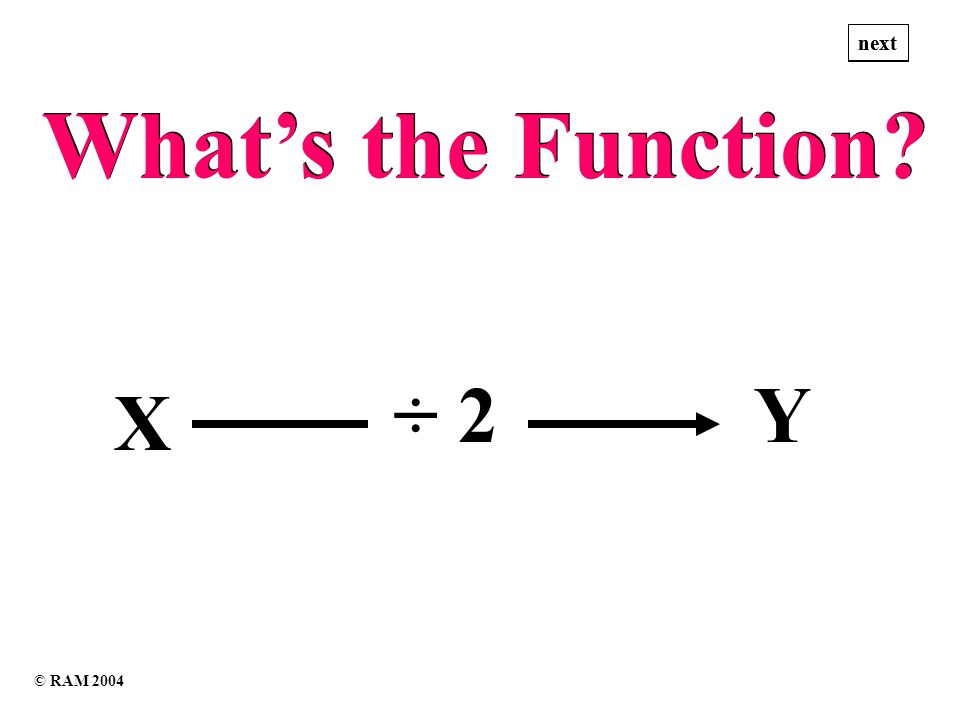 Whats the Function Whats the Function X ÷ 2Y next © RAM 2004