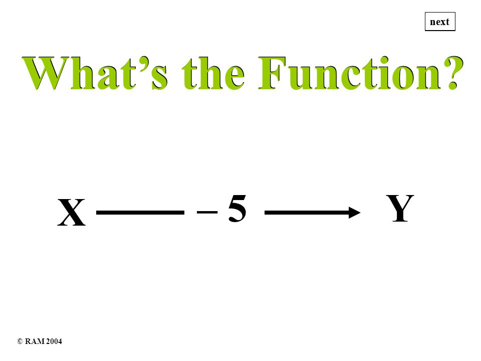 Whats the Function Whats the Function X – 5Y next © RAM 2004