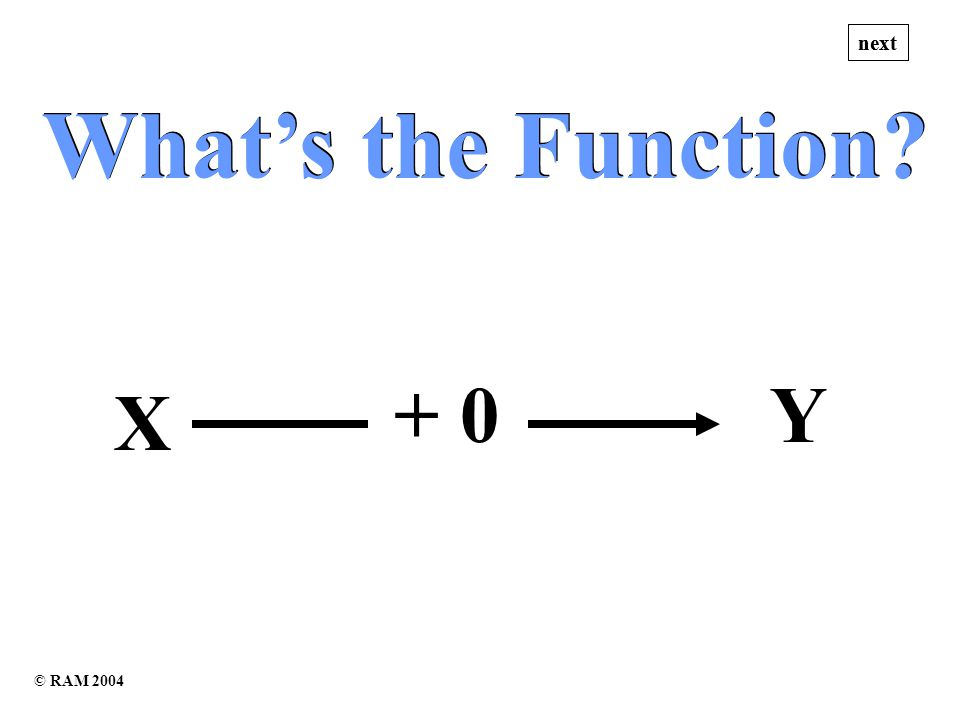 Whats the Function Whats the Function X + 0Y next © RAM 2004