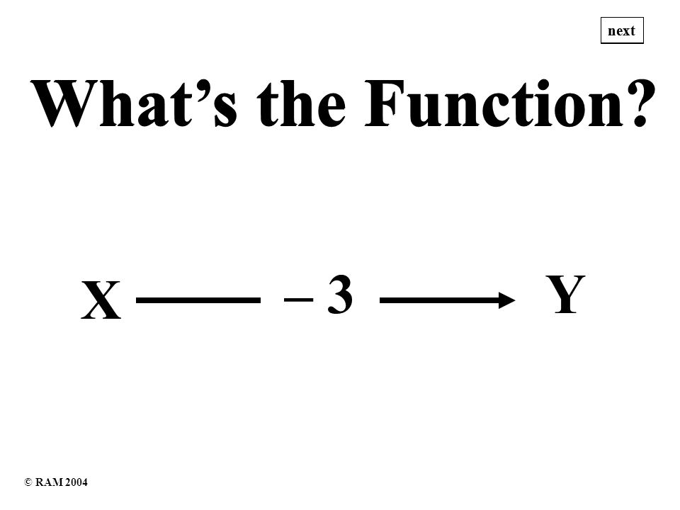 Whats the Function Whats the Function X – 3Y next © RAM 2004