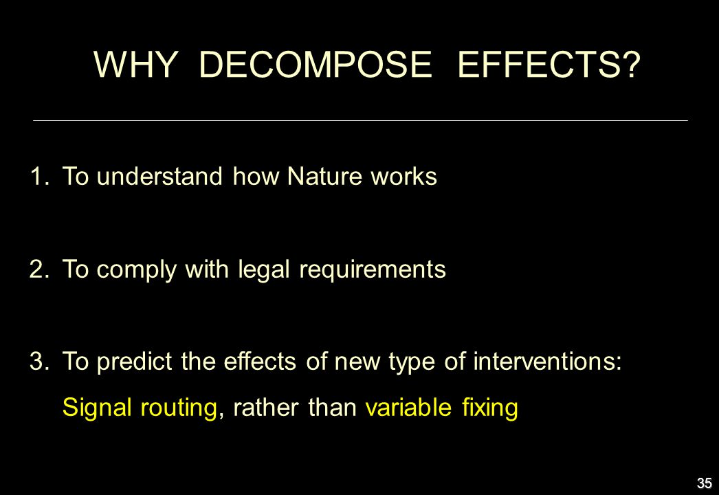 35 WHY DECOMPOSE EFFECTS? 1.To understand how Nature works 2.To comply with legal requirements 3.To predict the effects of new type of interventions: