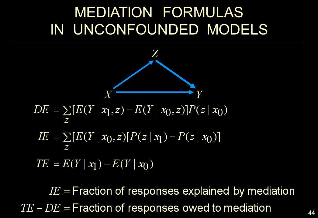 44 MEDIATION FORMULAS IN UNCONFOUNDED MODELS X Z Y