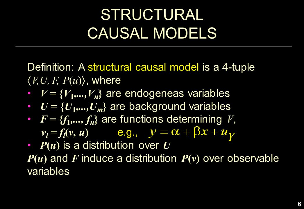 7 CAUSAL MODELS AND COUNTERFACTUALS Definition: The sentence: Y would be y (in situation u ), had X been x, denoted Y x (u) = y, means: The solution for Y in a mutilated model M x, (i.e., the equations for X replaced by X = x ) with input U=u, is equal to y.