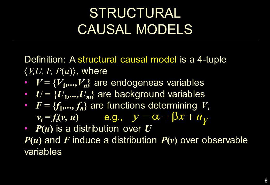 6 STRUCTURAL CAUSAL MODELS Definition: A structural causal model is a 4-tuple V,U, F, P(u), where V = {V 1,...,V n } are endogeneas variables U = {U 1