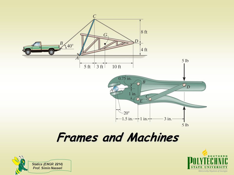 Statics (ENGR 2214) Prof. Simin Nasseri FBD of member AB as well as the pulley: