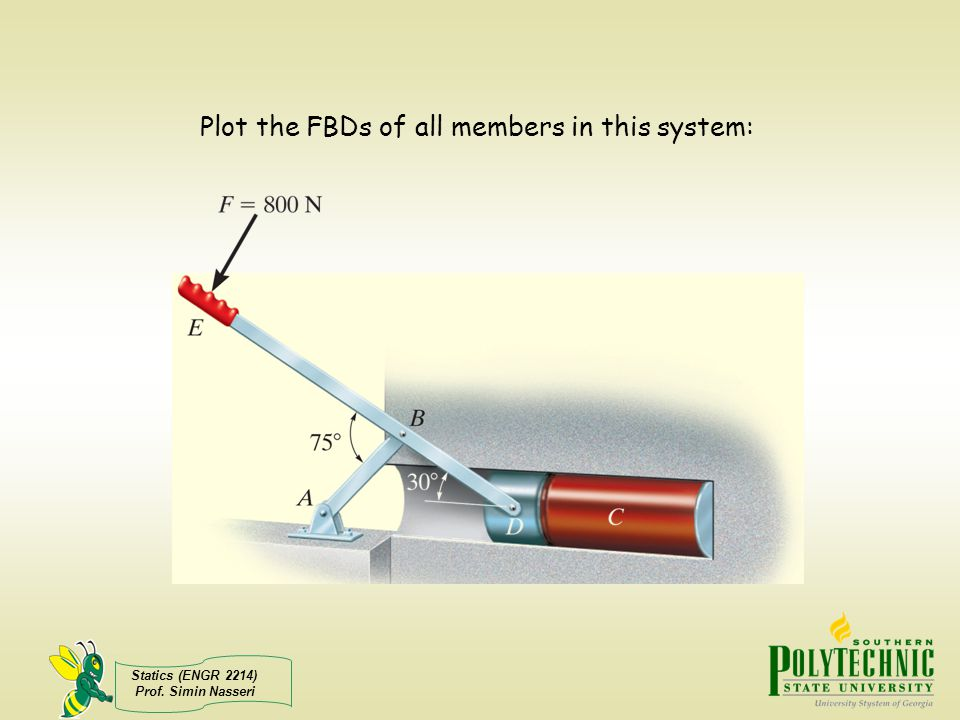 Statics (ENGR 2214) Prof. Simin Nasseri Plot the FBDs of all members in this system: