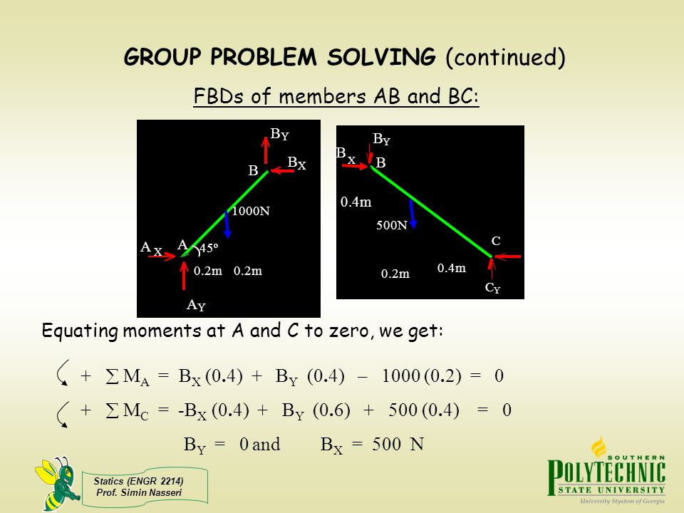 Statics (ENGR 2214) Prof. Simin Nasseri GROUP PROBLEM SOLVING (continued) + M A = B X (0.4) + B Y (0.4) – 1000 (0.2) = 0 + M C = -B X (0.4) + B Y (0.6