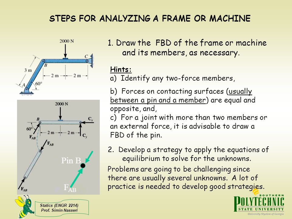 Statics (ENGR 2214) Prof. Simin Nasseri STEPS FOR ANALYZING A FRAME OR MACHINE 1. Draw the FBD of the frame or machine and its members, as necessary.
