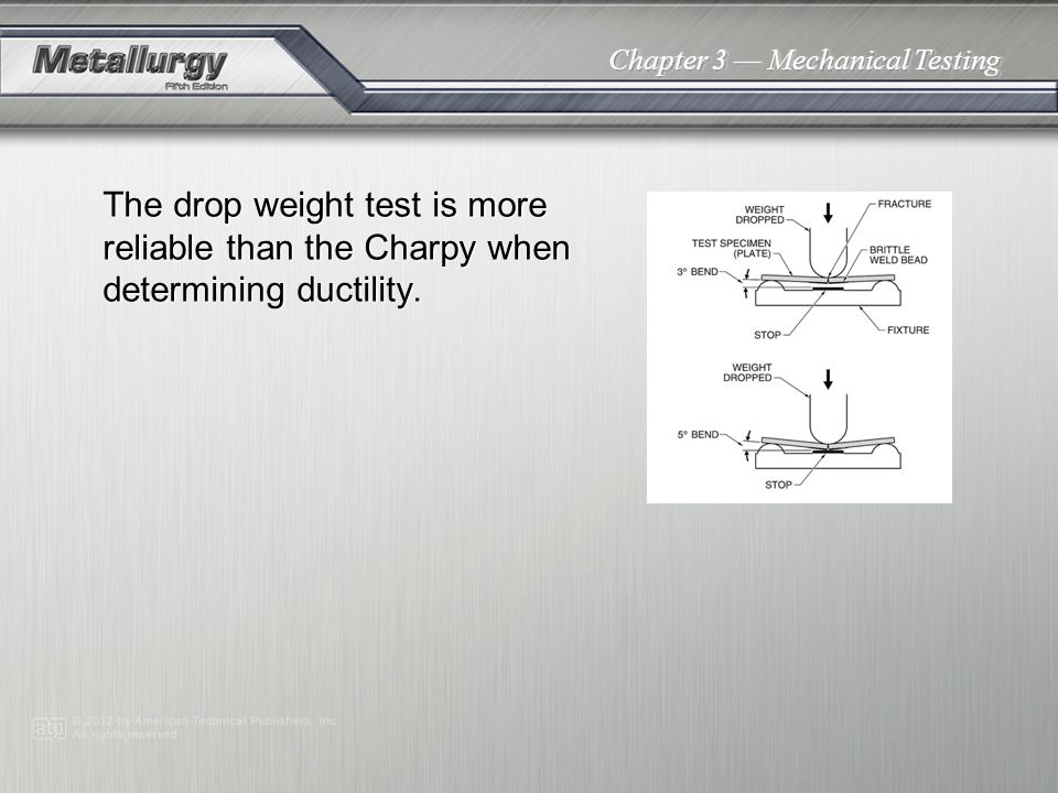Chapter 3 Mechanical Testing The drop weight test is more reliable than the Charpy when determining ductility.