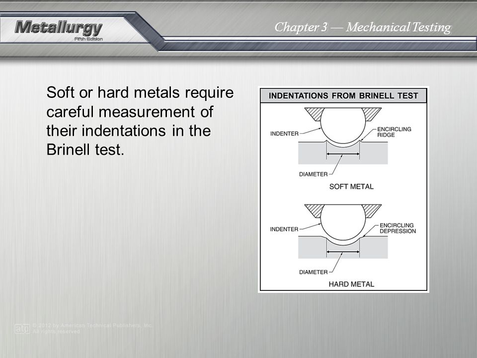 Chapter 3 Mechanical Testing Soft or hard metals require careful measurement of their indentations in the Brinell test.