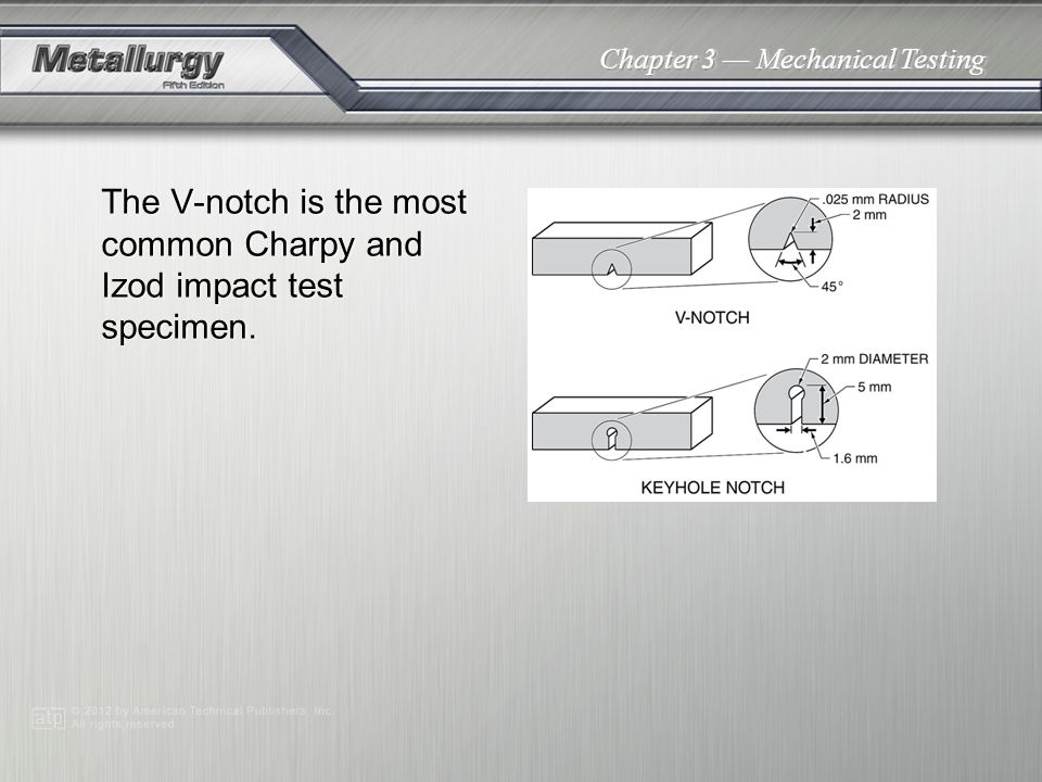 Chapter 3 Mechanical Testing The V-notch is the most common Charpy and Izod impact test specimen.