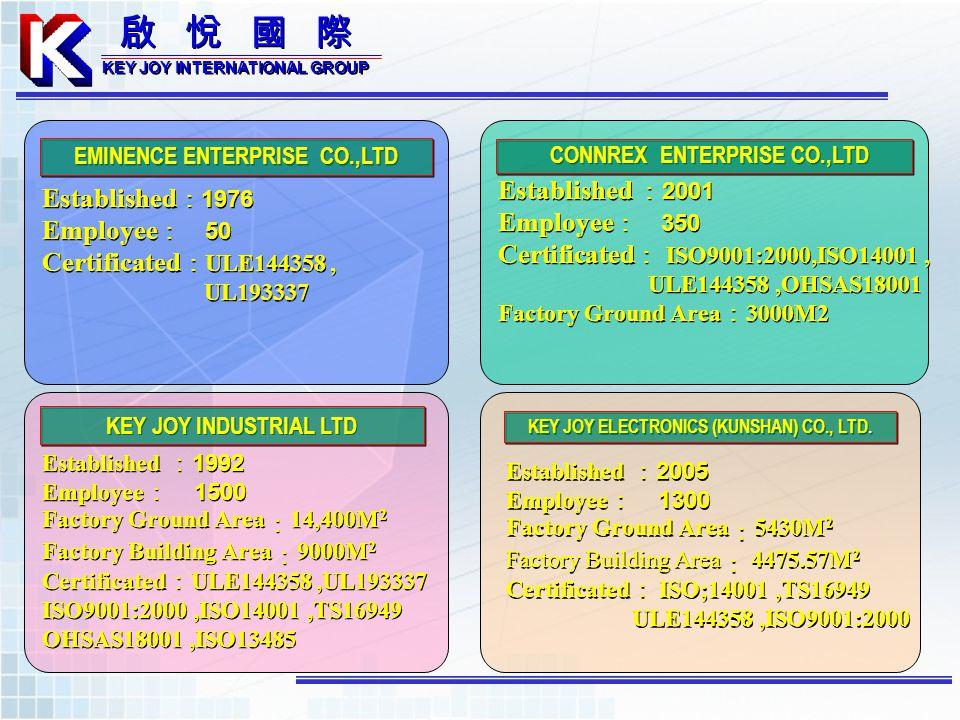 Established1976 Employee 50 Certificated ULE144358, UL193337 Established1976 Employee 50 Certificated ULE144358, UL193337 EMINENCE ENTERPRISE CO.,LTD