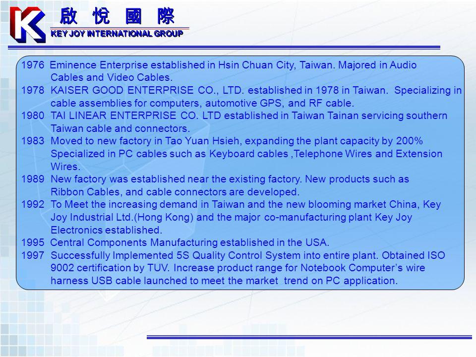 KEY JOY INTERNATIONAL GROUP KEY JOY INTERNATIONAL GROUP 1976 Eminence Enterprise established in Hsin Chuan City, Taiwan. Majored in Audio Cables and V