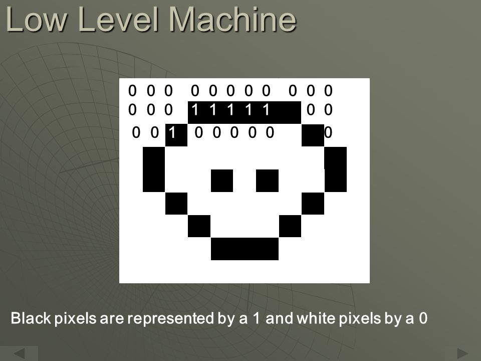 Low Level Machine 0 0 0 0 0 0 0 0 0 0 0 0 0 0 1 1 1 1 1 0 0 0 0 0 1 0 0 0 0 0 1 0 0 Black pixels are represented by a 1 and white pixels by a 0