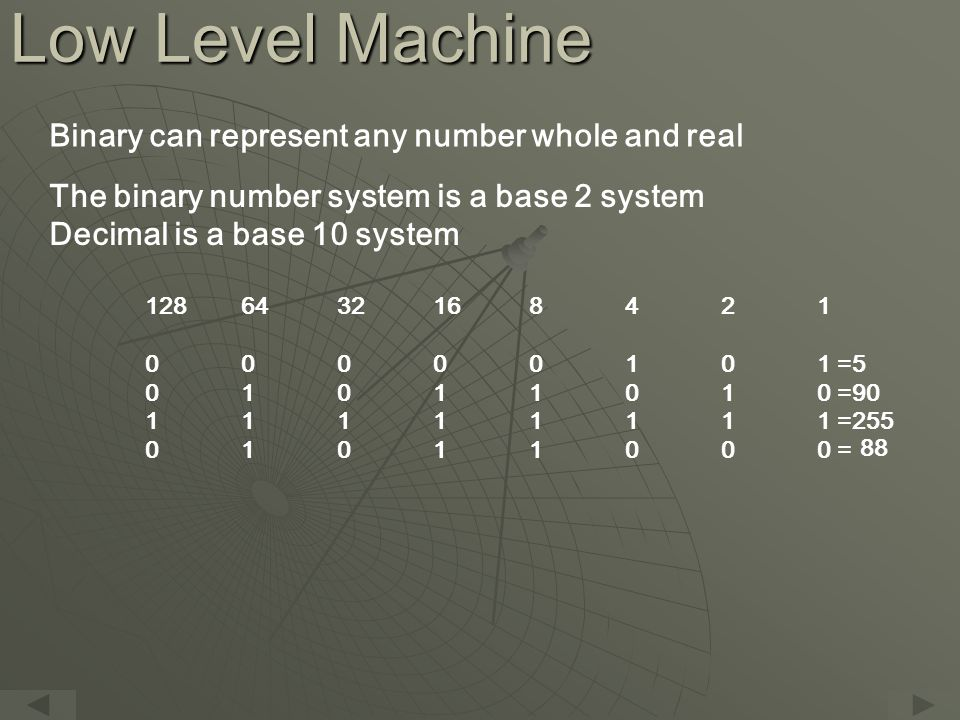 Low Level Machine Binary can represent any number whole and real The binary number system is a base 2 system Decimal is a base 10 system 1286432168421 00000101 =5 01011010 =90 11111111 =255 01011000 = 88