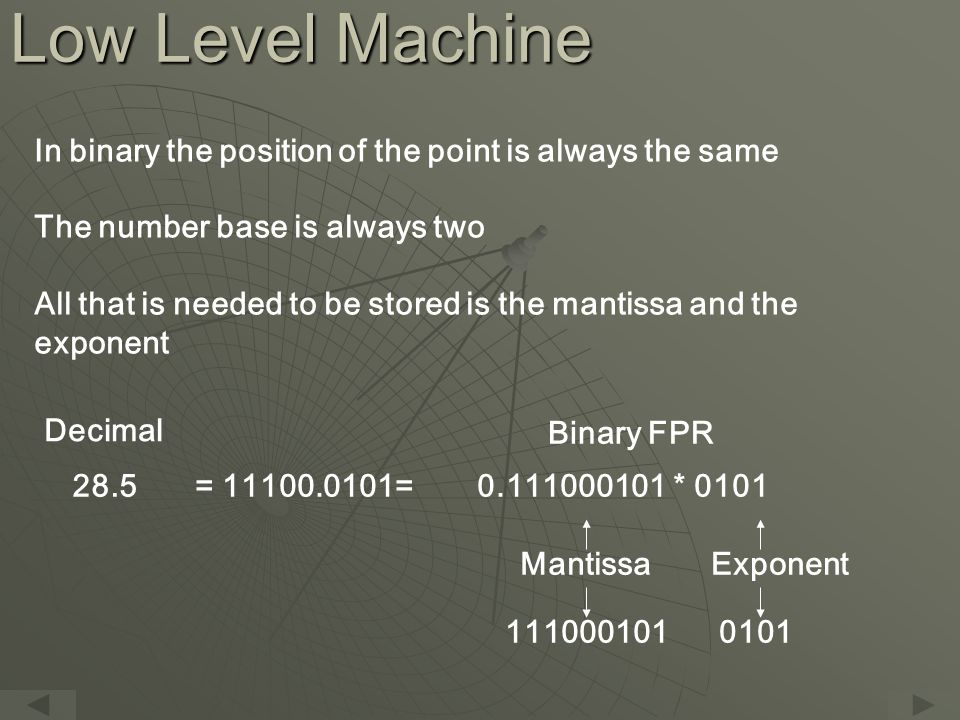 Low Level Machine In binary the position of the point is always the same The number base is always two All that is needed to be stored is the mantissa and the exponent 28.5= 11100.0101=0.111000101 * 0101 Decimal Binary FPR 1110001010101 MantissaExponent