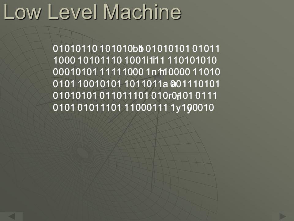 Low Level Machine 01010110 101010b1 01010101 01011 1000 10101110 1001i111 110101010 00010101 11111000 1n110000 11010 0101 10010101 1011011a 001110101 01010101 011011101 010r0101 0111 0101 01011101 11000111 1y100010 b i n a r y