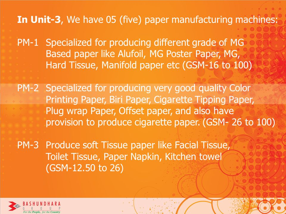 In Unit-3, We have 05 (five) paper manufacturing machines: PM-1 Specialized for producing different grade of MG Based paper like Alufoil, MG Poster Pa
