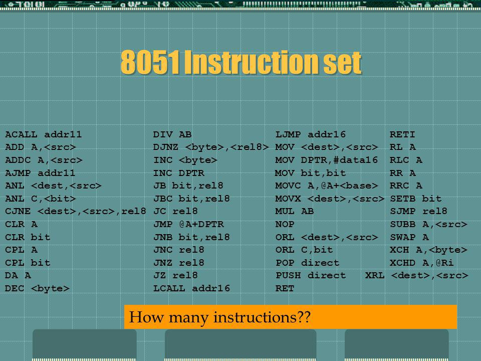 8051 Instruction set ACALL addr11 DIV AB LJMP addr16RETI ADD A, DJNZ, MOV, RL A ADDC A, INC MOV DPTR,#data16RLC A AJMP addr11 INC DPTR MOV bit,bitRR A ANL JB bit,rel8 MOVC A,@A+ RRC A ANL C, JBC bit,rel8 MOVX, SETB bit CJNE,,rel8 JC rel8 MUL ABSJMP rel8 CLR A JMP @A+DPTR NOPSUBB A, CLR bit JNB bit,rel8 ORL, SWAP A CPL A JNC rel8 ORL C,bitXCH A, CPL bit JNZ rel8 POP directXCHD A,@Ri DA A JZ rel8 PUSH direct XRL, DEC LCALL addr16 RET How many instructions