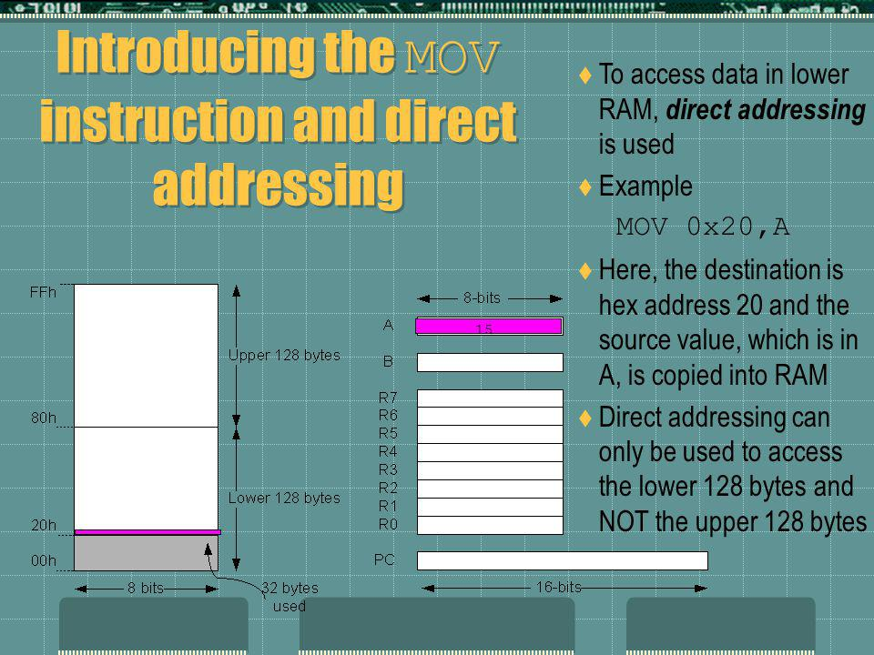 Introducing the MOV instruction and direct addressing To access data in lower RAM, direct addressing is used Example MOV 0x20,A Here, the destination is hex address 20 and the source value, which is in A, is copied into RAM Direct addressing can only be used to access the lower 128 bytes and NOT the upper 128 bytes 15