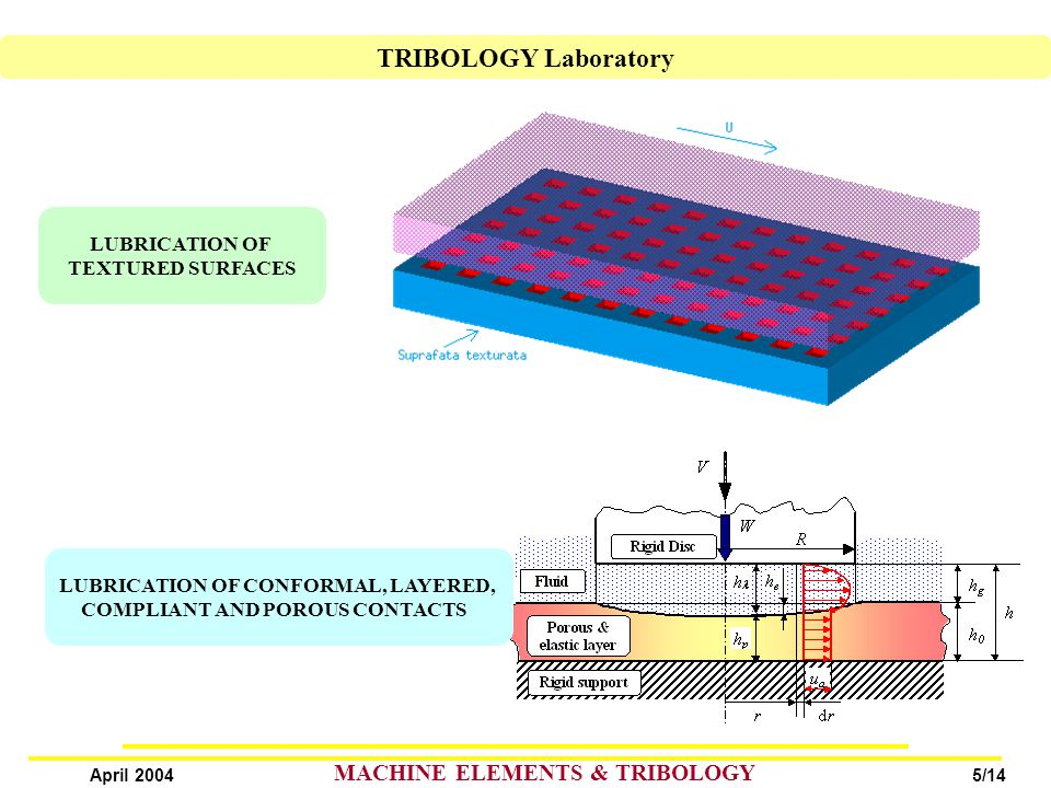 5/14 April 2004 MACHINE ELEMENTS & TRIBOLOGY LUBRICATION OF TEXTURED SURFACES LUBRICATION OF CONFORMAL, LAYERED, COMPLIANT AND POROUS CONTACTS TRIBOLOGY Laboratory