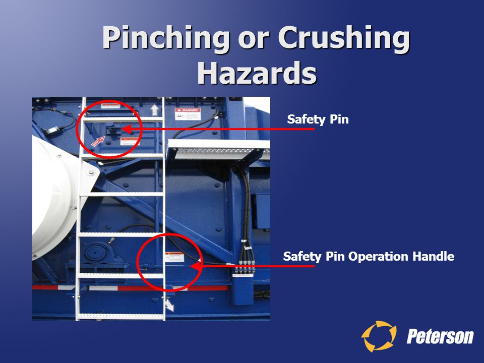 Pinching or Crushing Hazards Safety Pin Operation Handle Safety Pin