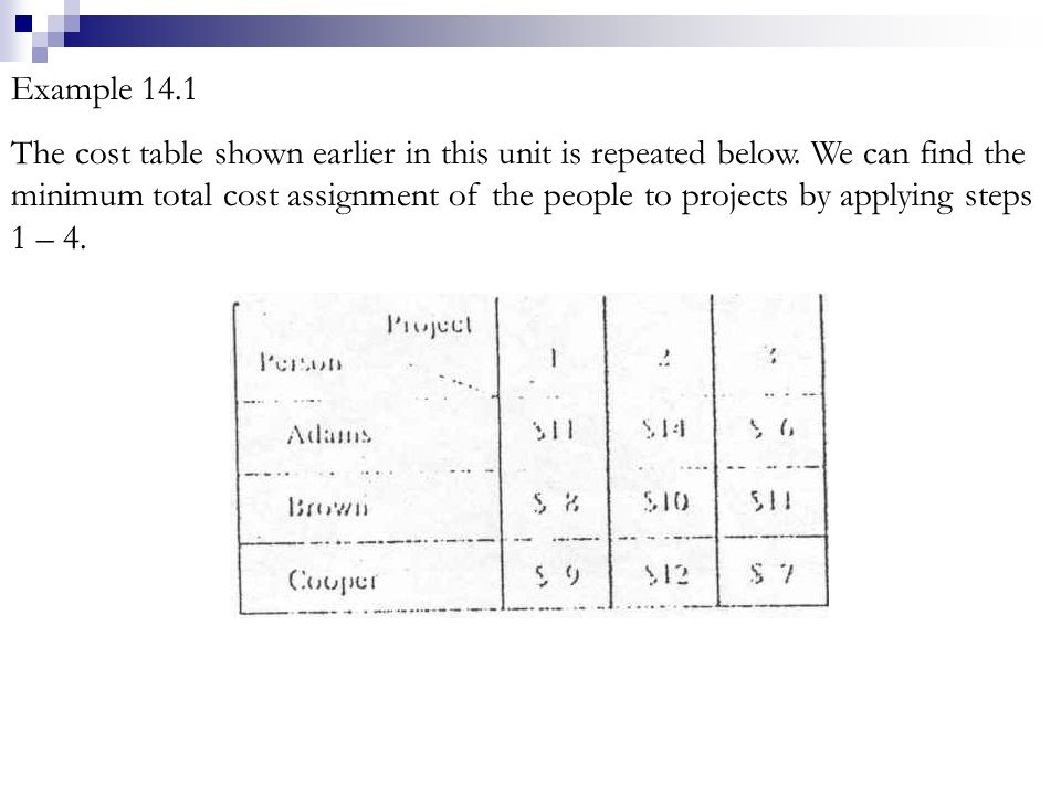 DUMMY ROWS AND COLUMNS The solution procedure for assignment problems just discussed requires that the number of rows in the table equal the number of columns.