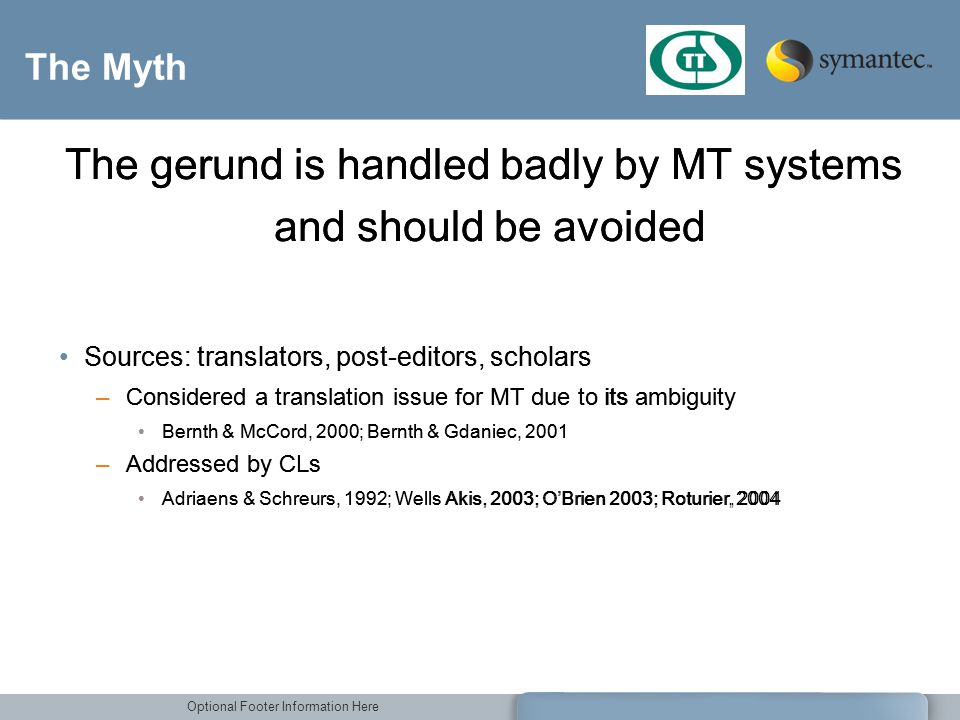 Optional Footer Information Here The Myth Sources: translators, post-editors, scholars –Considered a translation issue for MT due to its ambiguity Ber