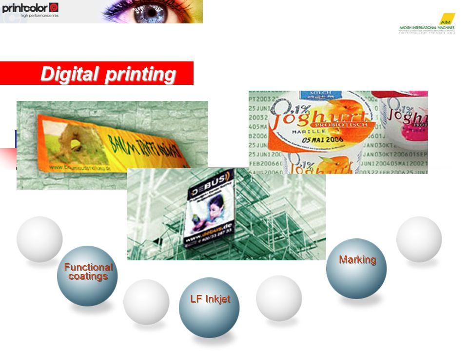 Marking Digital printing LF Inkjet Functional coatings Functional coatings