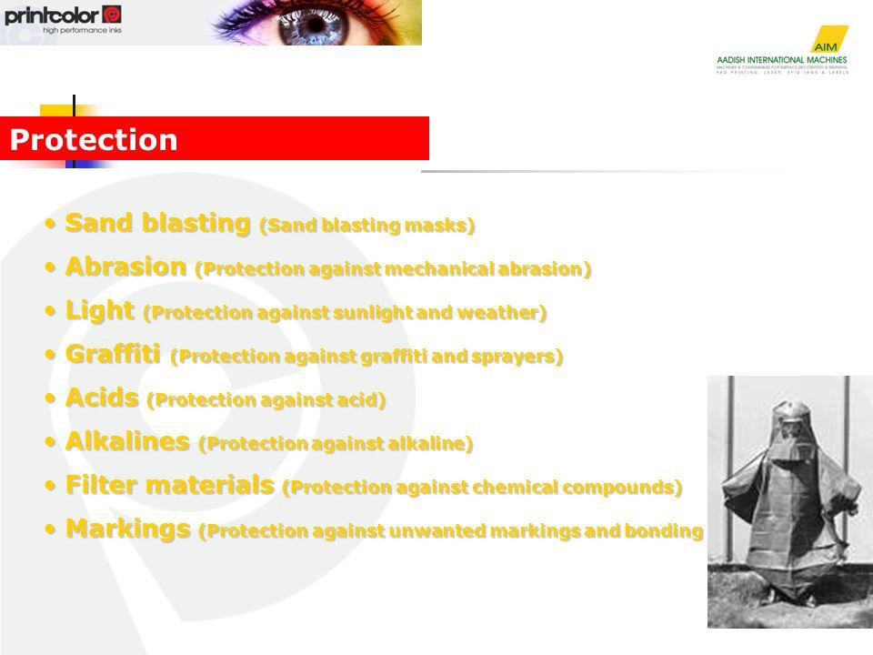 Sand blasting (Sand blasting masks) Sand blasting (Sand blasting masks) Abrasion (Protection against mechanical abrasion) Abrasion (Protection against